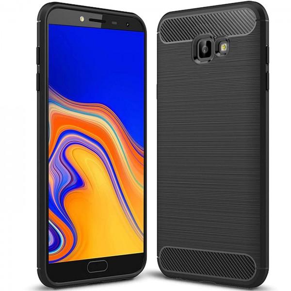 Safers Carbon Hülle für Samsung Galaxy J4 Plus Schutzhülle Handy Case Cover
