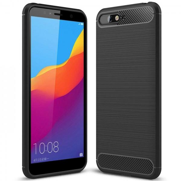 Safers Carbon Hülle für Huawei Y6 2018 Schutzhülle Handy Case Cover
