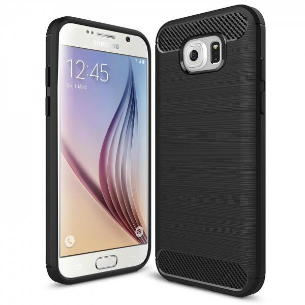 Safers Carbon Hülle für Samsung Galaxy S6 Edge Schutzhülle Handy Case Cover