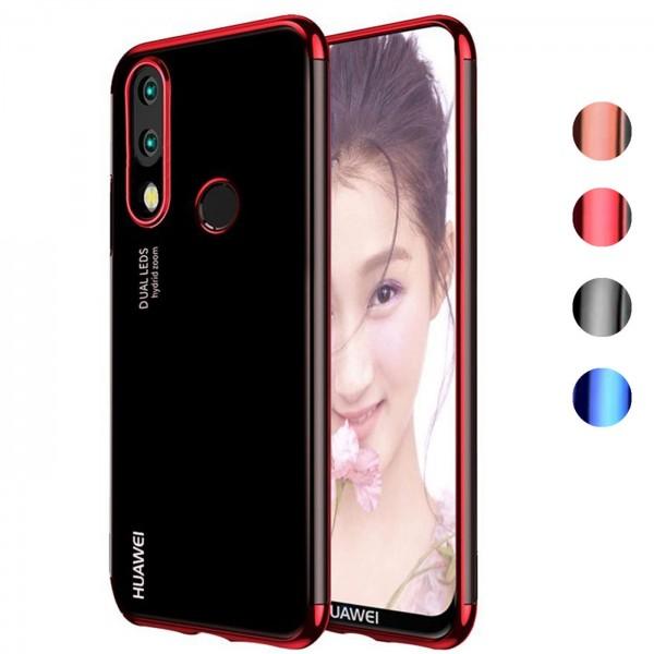 Safers Color Hülle für Huawei P20 Lite Case Silikon Cover Transparent mit Farbrand Handyhülle