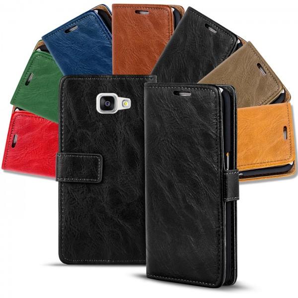 Safers Retro Tasche für Samsung Galaxy A3 2016 Hülle Wallet Case Handyhülle Vintage Slim Cover