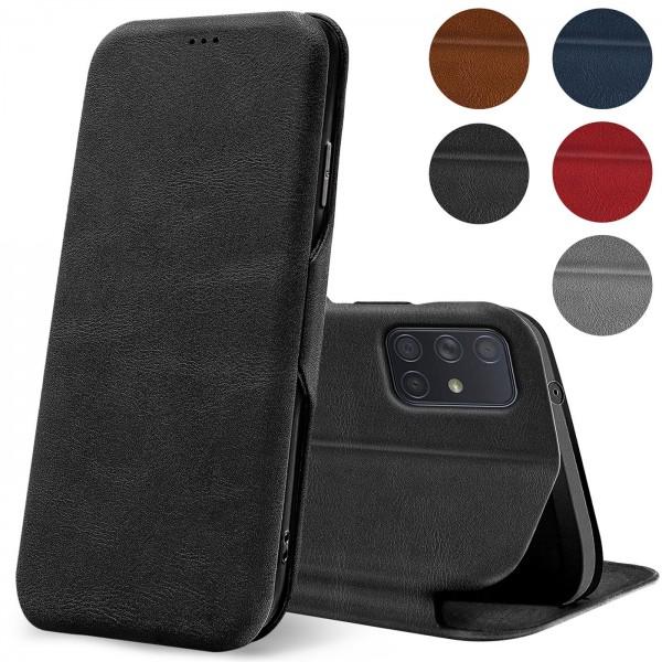 Safers Shell Flip für Samsung Galaxy A71 Hülle Premium Bookstyle Case Handyhülle Vintage Look Tasche