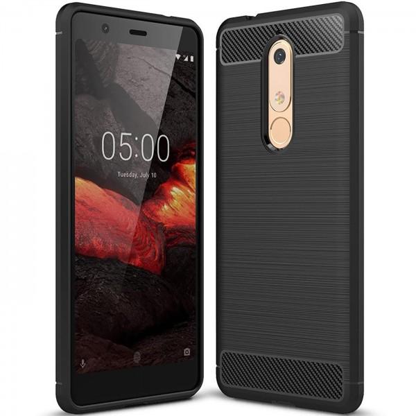 Safers Carbon Hülle für Nokia 5.1 Schutzhülle Handy Case Hybrid TPU Cover