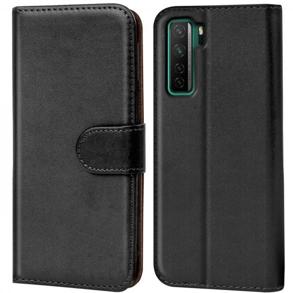 Safers Basic Wallet für Huawei P40 Lite 5G Hülle Bookstyle Klapphülle Handy Schutz Tasche