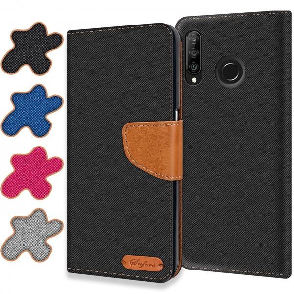 Safers Textil Wallet für Huawei P30 Lite Hülle Bookstyle Jeans Look Handy Tasche