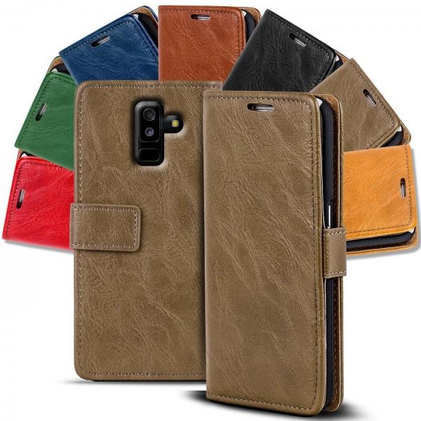 Safers Retro Tasche für Samsung Galaxy A6 Plus Hülle Wallet Case Handyhülle Vintage Slim Cover