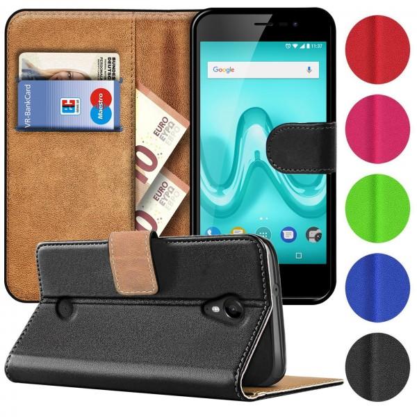 Safers Basic Wallet für Wiko Tommy Hülle Bookstyle Klapphülle Handy Schutz Tasche