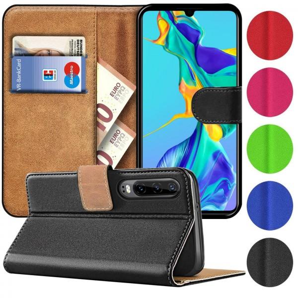 Safers Basic Wallet für Huawei P30 Hülle Bookstyle Klapphülle Handy Schutz Tasche