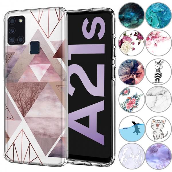Safers IMD Case für Samsung Galaxy A21s Hülle Silikon Case mit Muster Schutzhülle