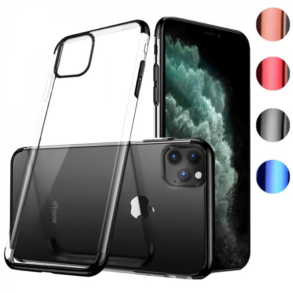 Safers Color Hülle für Apple iPhone 11 Pro Max Case Silikon Cover Transparent mit Farbrand Handyhüll
