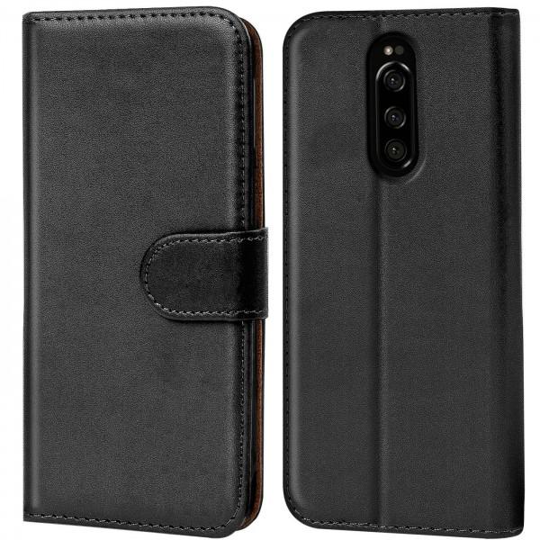Safers Basic Wallet für Sony Xperia 1 Hülle Bookstyle Klapphülle Handy Schutz Tasche
