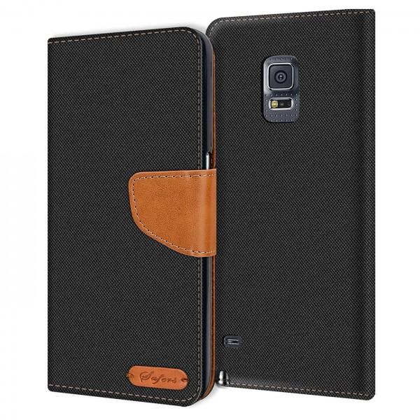 Safers Textil Wallet für Samsung Galaxy Note 4 Hülle Bookstyle Jeans Look Handy Tasche