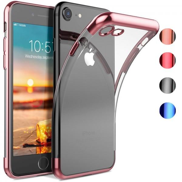 Safers Color Hülle für Apple iPhone 7 / 8 / SE 2 Case Silikon Cover Transparent mit Farbrand Handyhü
