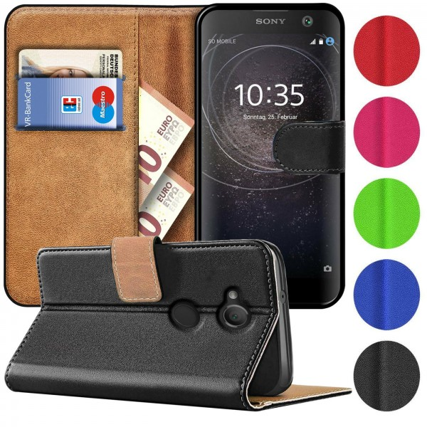 Safers Basic Wallet für Sony Xperia XA2 Hülle Bookstyle Klapphülle Handy Schutz Tasche