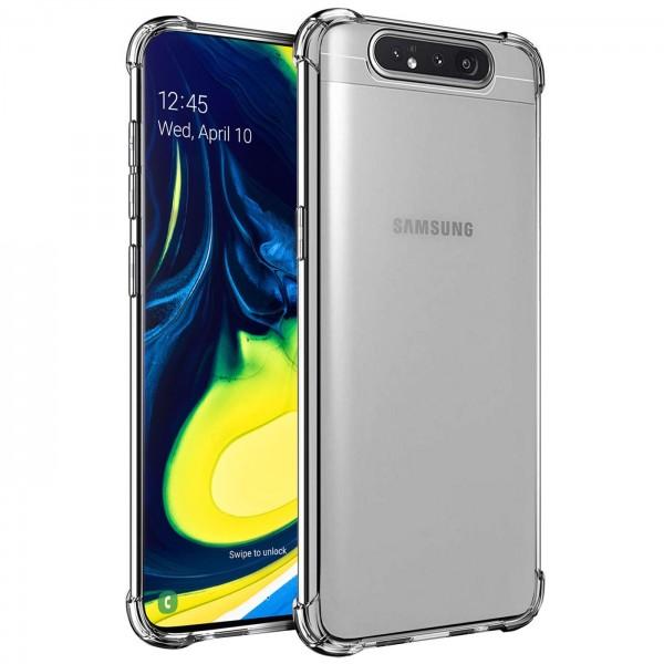 Safers Rugged TPU für Samsung Galaxy A80 Schutzhülle Anti Shock Handy Case Transparent Cover