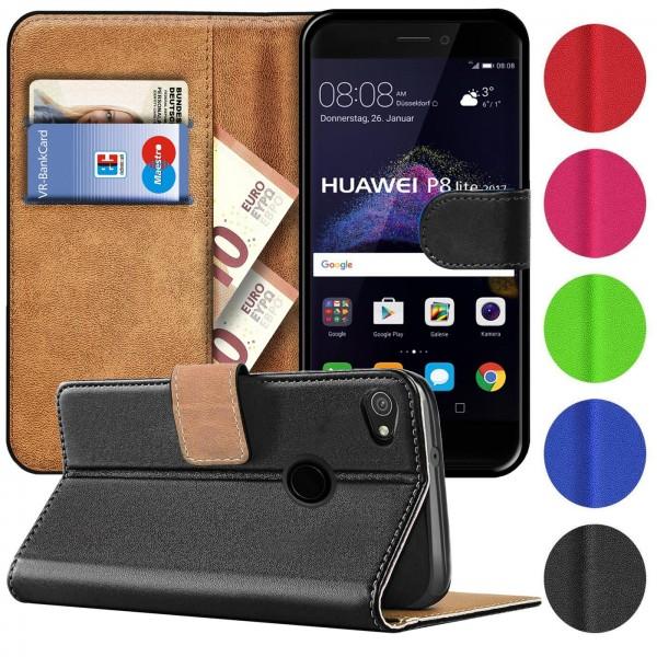 Safers Basic Wallet für Huawei P8 Lite 2017 Hülle Bookstyle Klapphülle Handy Schutz Tasche