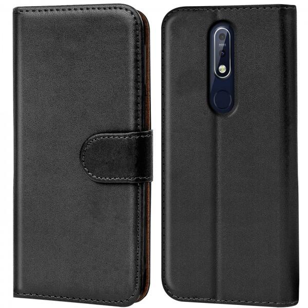 Safers Basic Wallet für Nokia 7.1 Hülle Bookstyle Klapphülle Handy Schutz Tasche