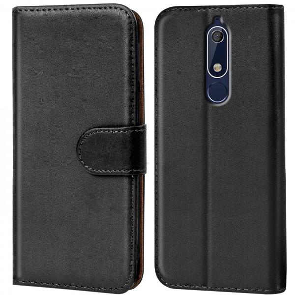 Safers Basic Wallet für Nokia 5.1 Hülle Bookstyle Klapphülle Handy Schutz Tasche