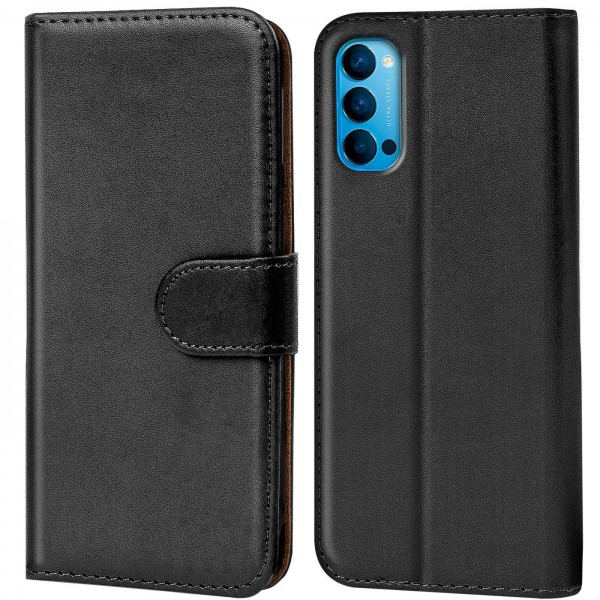 Safers Basic Wallet für OPPO Reno4 Hülle Bookstyle Klapphülle Handy Schutz Tasche