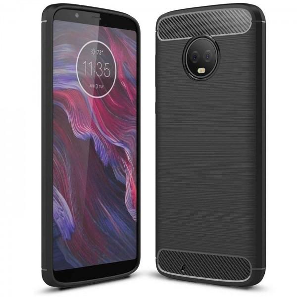 Safers Carbon Hülle für Motorola Moto G6 Schutzhülle Handy Case Cover