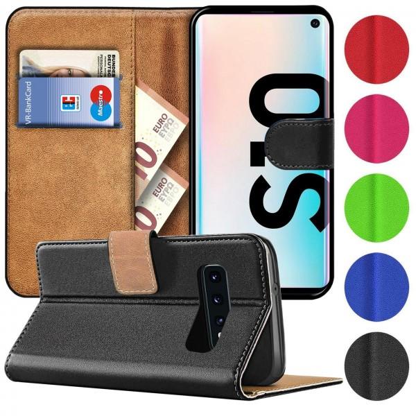 Safers Basic Wallet für Samsung Galaxy S10 Hülle Bookstyle Klapphülle Handy Schutz Tasche