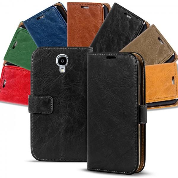 Safers Retro Tasche für Samsung Galaxy S4 Mini Hülle Wallet Case Handyhülle Vintage Slim Cover