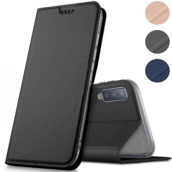 Safers Electro Flip für Samsung Galaxy A7 2018 Hülle Magnet Case Handy Tasche Klapphülle