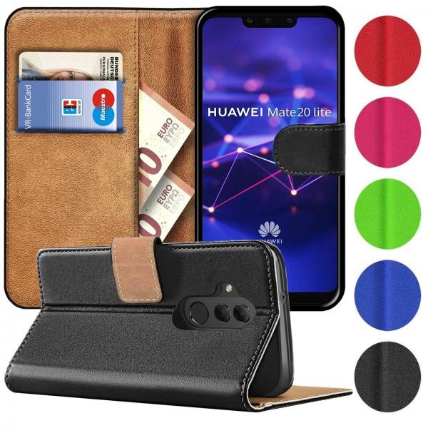 Safers Basic Wallet für Huawei Mate 20 Lite Hülle Bookstyle Klapphülle Handy Schutz Tasche
