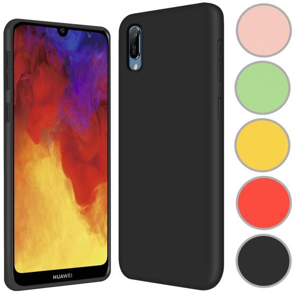 Safers Color TPU für Huawei Y6 2019 Hülle Soft Silikon Case mit innenliegendem Stoffbezug
