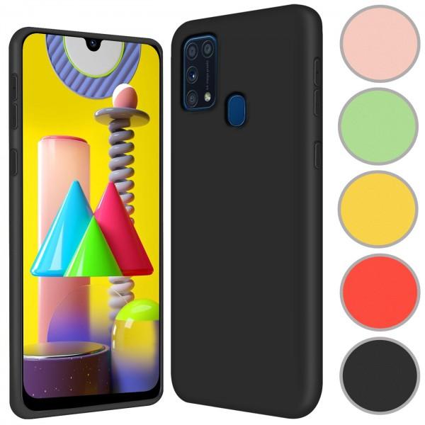 Safers Color TPU für Samsung Galaxy M31 Hülle Soft Silikon Case mit innenliegendem Stoffbezug