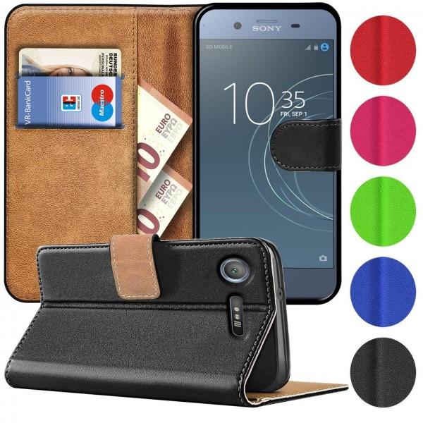 Safers Basic Wallet für Sony Xperia XZ1 Hülle Bookstyle Klapphülle Handy Schutz Tasche