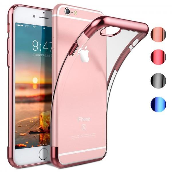 Safers Color Hülle für Apple iPhone 6 / 6S Case Silikon Cover Transparent mit Farbrand Handyhülle