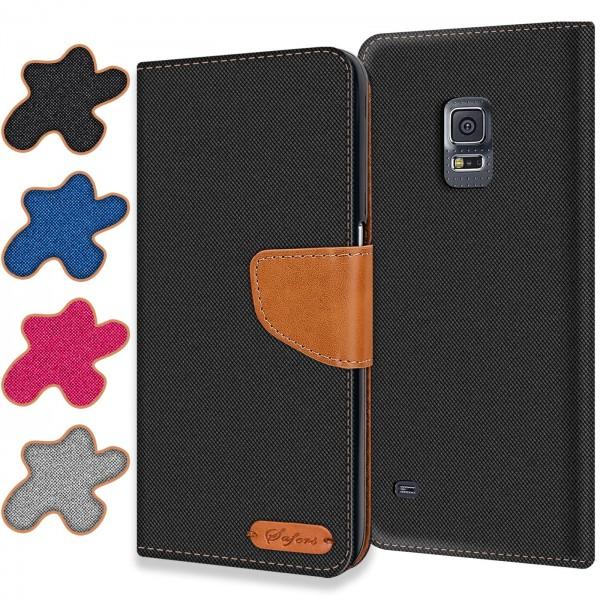 Safers Textil Wallet für Samsung Galaxy S5 Mini Hülle Bookstyle Jeans Look Handy Tasche