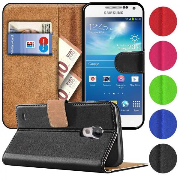 Safers Basic Wallet für Samsung Galaxy S4 Mini Hülle Bookstyle Klapphülle Handy Schutz Tasche