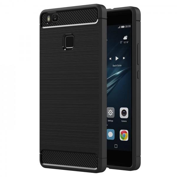 Safers Carbon Hülle für Huawei P9 Lite Schutzhülle Handy Case Cover