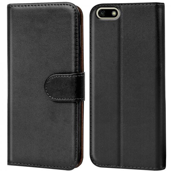 Safers Basic Wallet für Huawei Y5 2018 Hülle Bookstyle Klapphülle Handy Schutz Tasche