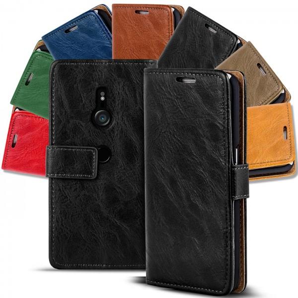Safers Retro Tasche für Sony Xperia XZ3 Hülle Wallet Case Handyhülle Vintage Slim Cover
