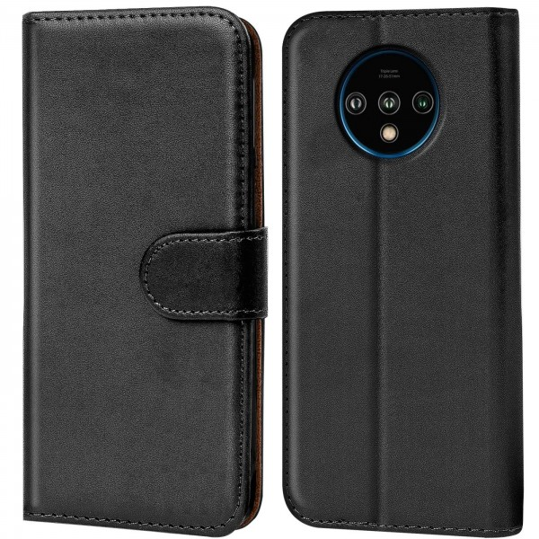 Safers Basic Wallet für OnePlus 7T Hülle Bookstyle Klapphülle Handy Schutz Tasche