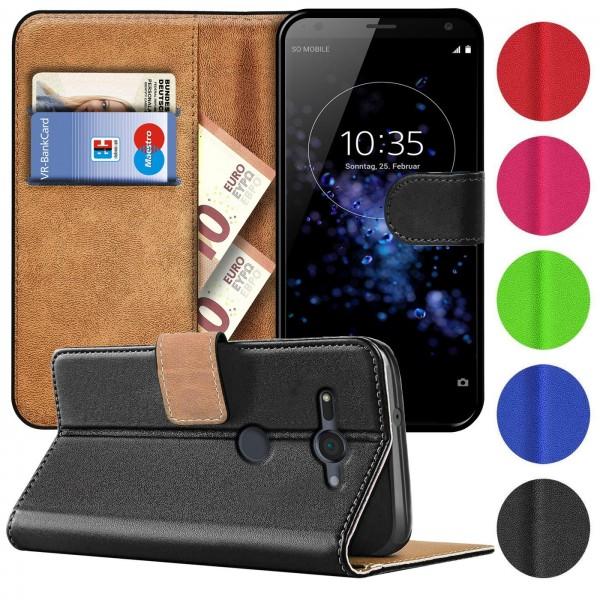 Safers Basic Wallet für Sony Xperia XZ2 Compact Hülle Bookstyle Klapphülle Handy Schutz Tasche