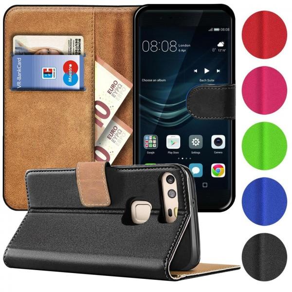 Safers Basic Wallet für Huawei P9 Hülle Bookstyle Klapphülle Handy Schutz Tasche