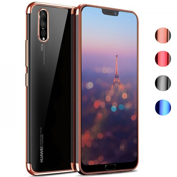 Safers Color Hülle für Huawei P20 Case Silikon Cover Transparent mit Farbrand Handyhülle