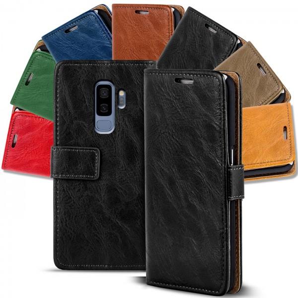 Safers Retro Tasche für Samsung Galaxy S9 Plus Hülle Wallet Case Handyhülle Vintage Slim Cover