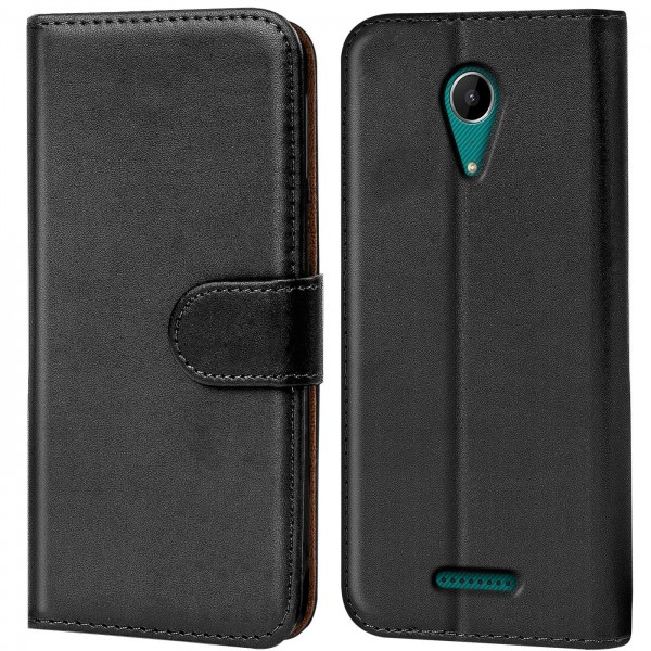 Safers Basic Wallet für Wiko Tommy 2 Hülle Bookstyle Klapphülle Handy Schutz Tasche