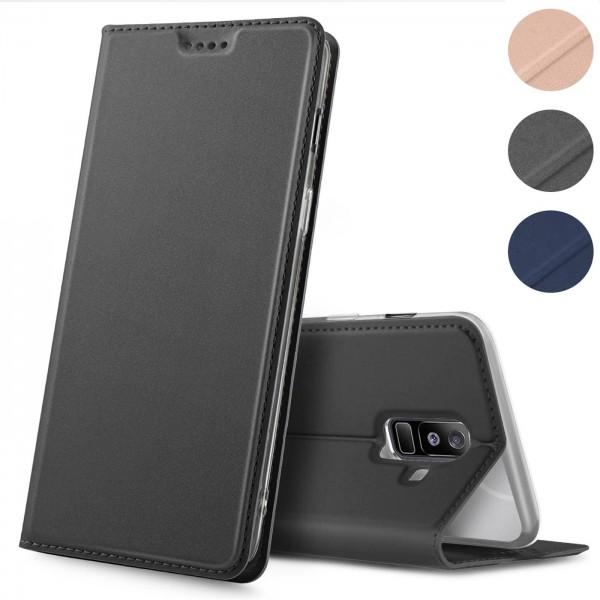 Safers Electro Flip für Samsung Galaxy A6 Plus Hülle Magnet Case Handy Tasche Klapphülle