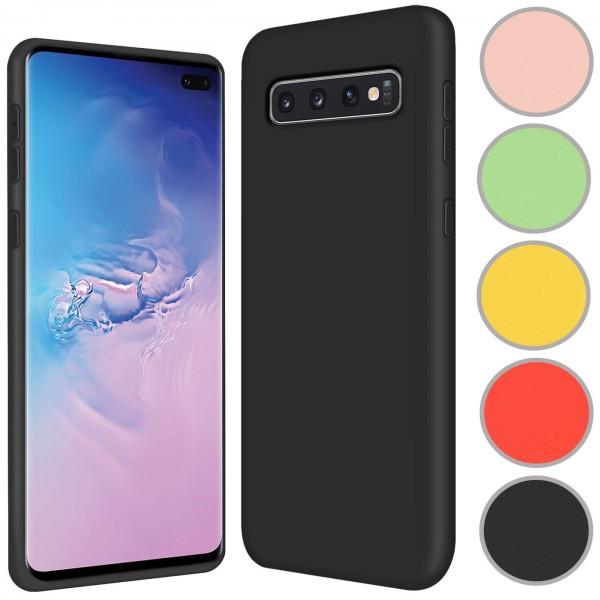 Safers Color TPU für Samsung Galaxy S10+ Hülle Soft Silikon Case mit innenliegendem Stoffbezug