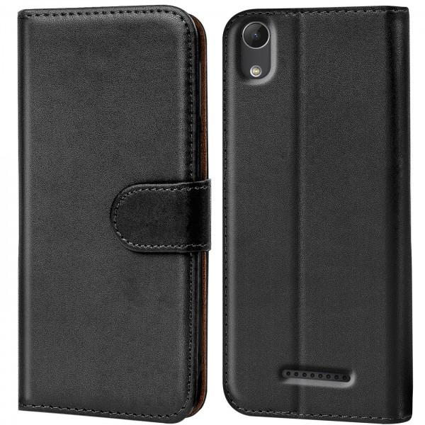 Safers Basic Wallet für Wiko Lenny 4 Hülle Bookstyle Klapphülle Handy Schutz Tasche