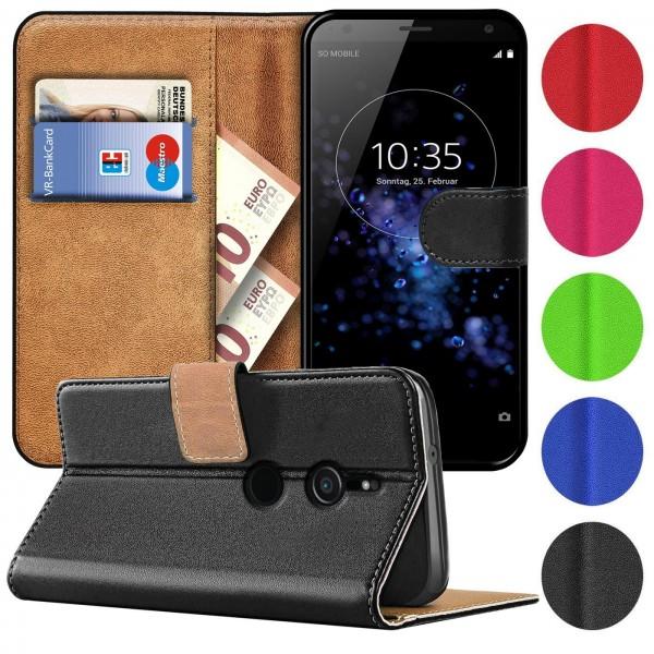 Safers Basic Wallet für Sony Xperia XZ2 Hülle Bookstyle Klapphülle Handy Schutz Tasche