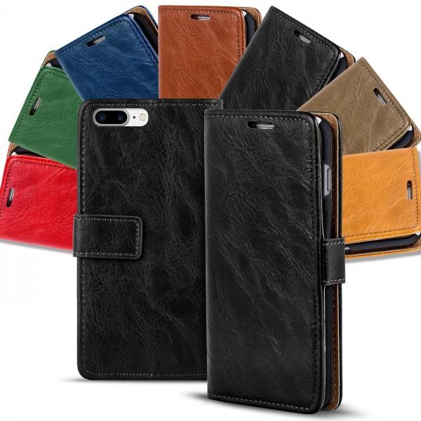 Safers Retro Tasche für iPhone 7 Plus / 8 Plus Hülle Wallet Case Handyhülle Vintage Slim Cover
