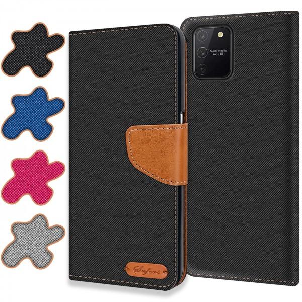 Safers Textil Wallet für Samsung Galaxy S10 Lite Hülle Bookstyle Jeans Look Handy Tasche