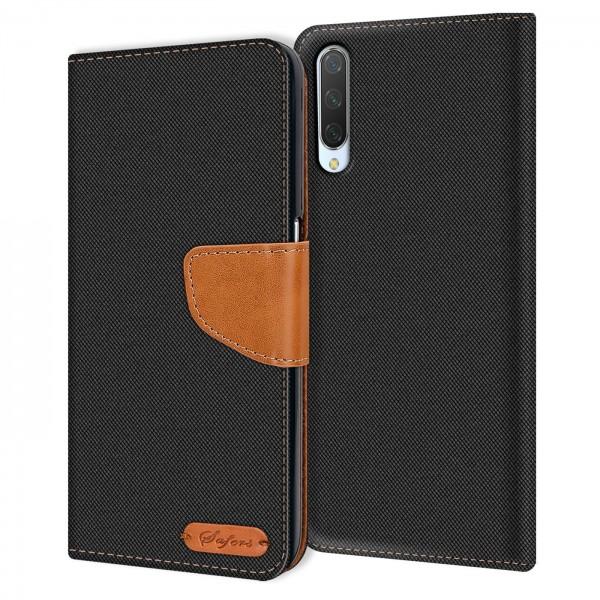 Safers Textil Wallet für Xiaomi Mi A3 Hülle Bookstyle Jeans Look Handy Tasche